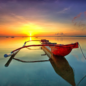 Glowing Red by Agoes Antara - Transportation Boats