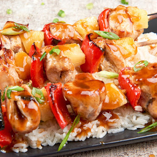 Hawaiian-Style Pork and Pineapple Skewers with coconut jasmine rice