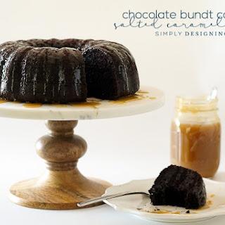 Chocolate Bundt Cake with Salted Caramel Sauce.