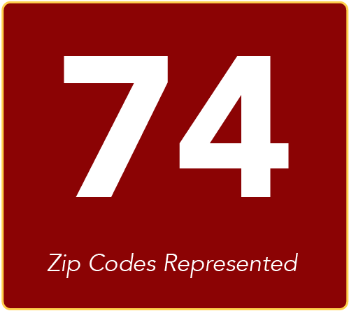74 zip codes represented by students