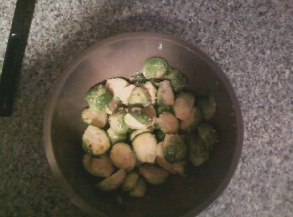 Wash and cut stem end off brussel sprouts. Cut in half. Put in bowl...