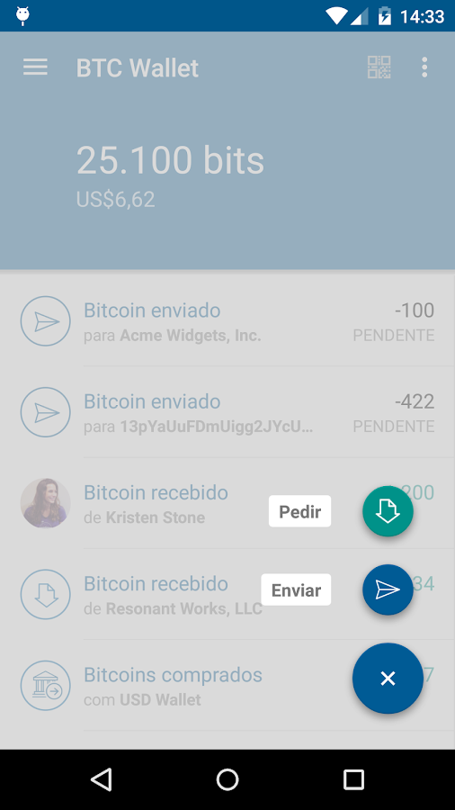 Bitcoin Wallet - Coinbase: captura de tela