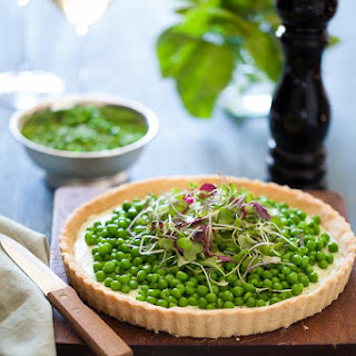 Pea and Herbed Goat Cheese Tart Recipe (Gluten Free and Grain Free).