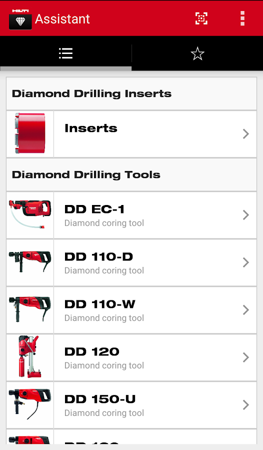 Hilti Diamond Assistant – Capture d'écran
