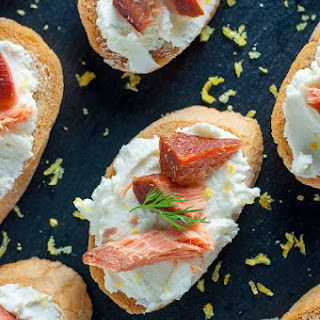 Smoked Salmon Crostini with Whipped Goat Cheese.