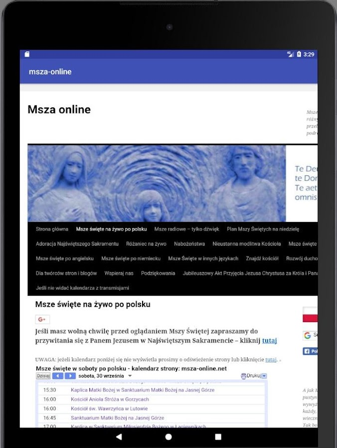 Msza online- screenshot