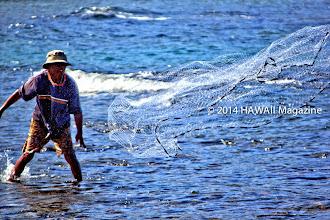 Photo: PEOPLE CATEGORY, FINALIST. Throwing fishing net at Waikoloa, Big Island. Photo by Bob Kinnison, Rockford, Illinois.