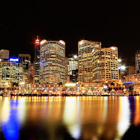 Glowing Night at Darling Harbour by Monique Sjarief - Buildings & Architecture Office Buildings & Hotels