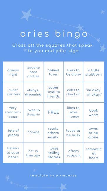 Aries Bingo - Facebook Story template