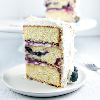 Vanilla Layer Cake with Blueberry Cardamom Curd.