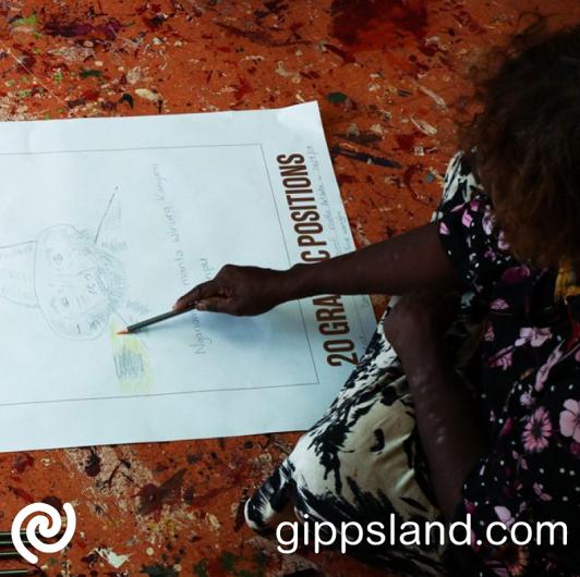 Pauline Wangin drawing a portrait of Kunmanara (Mumu Mike) Williams while sitting cross-legged on the floor at Mimili Maku Arts, Mimili, SA. 2019