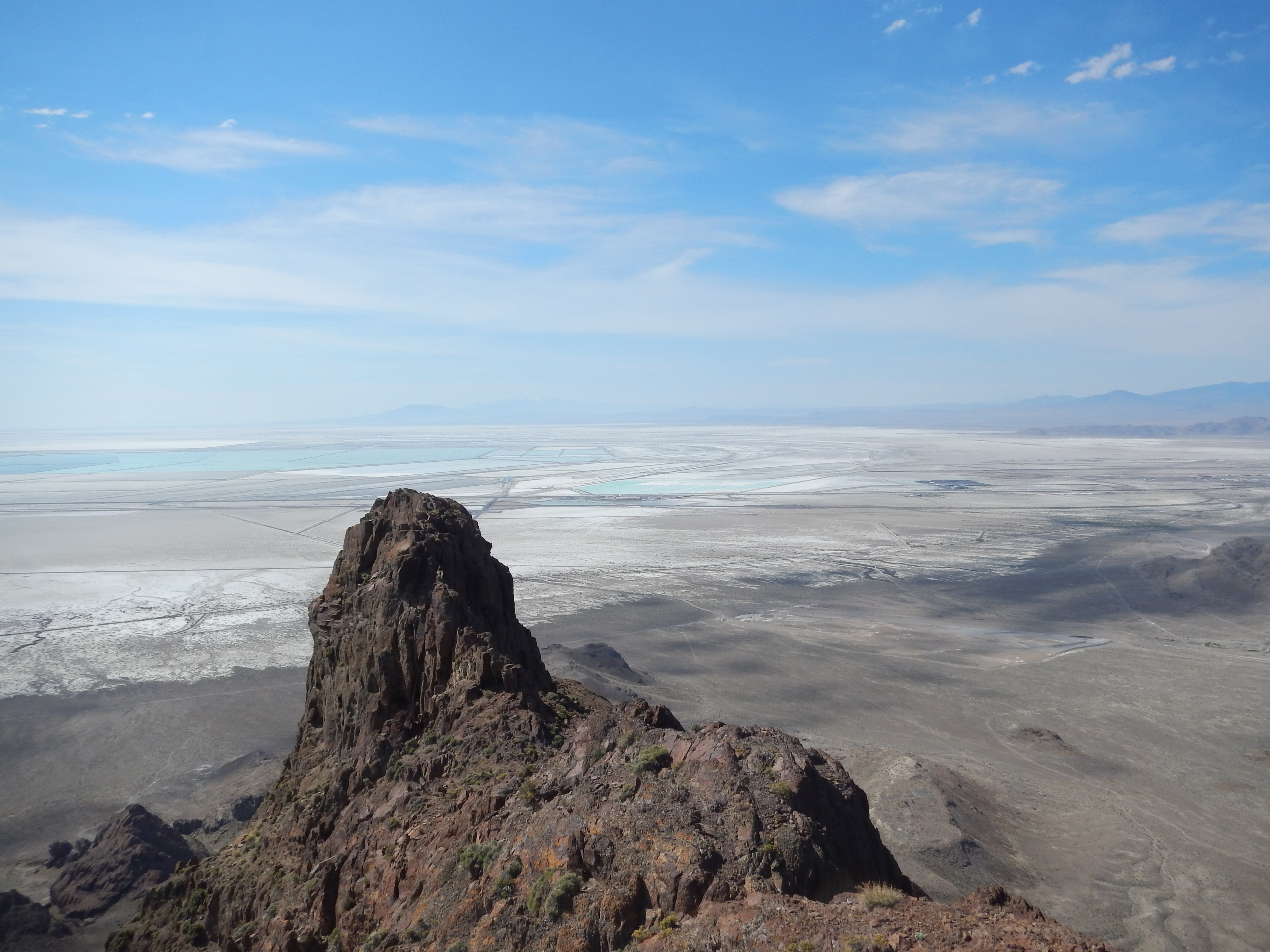 Photo: Overlooking the salt flats and evaporation ponds from the top of Volcano Peak.