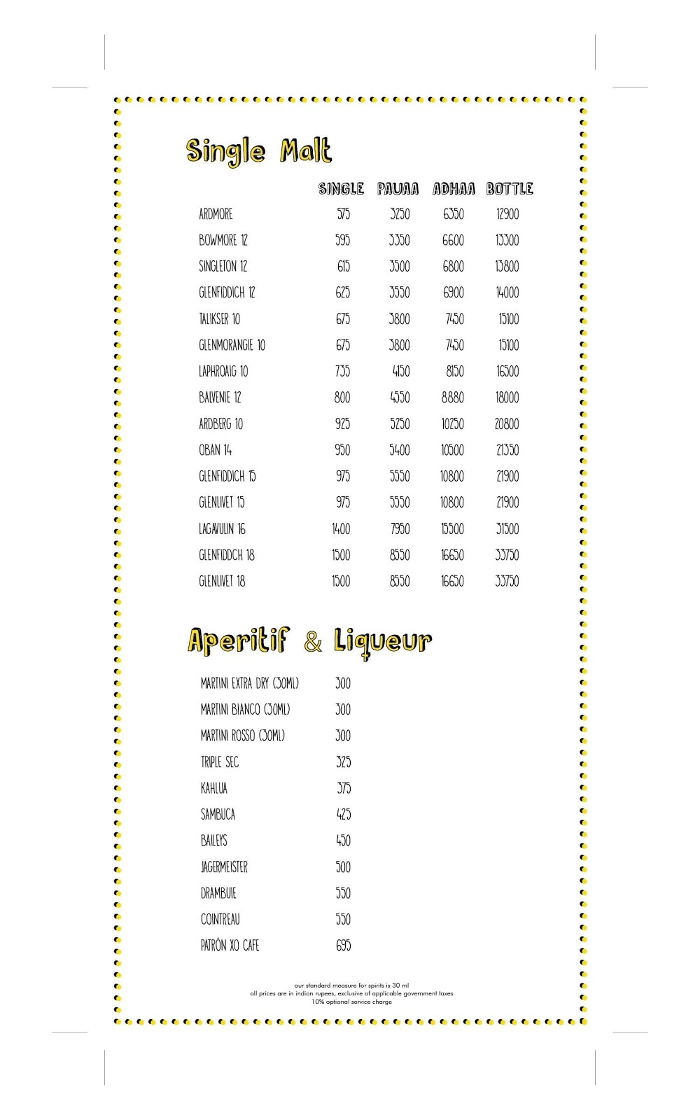 Farzi Cafe menu 1