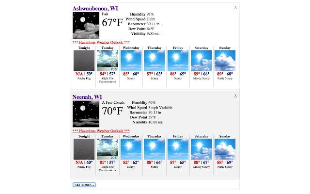 NOAA NWS Weather Forecast
