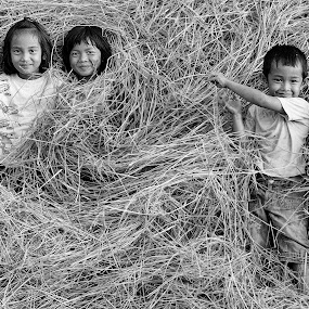 Thai Children Playing in a Haystack Black & White by James Morris - Black & White Street & Candid ( black & white, haystack, children, farm, stret photography, thai, playing, kids )