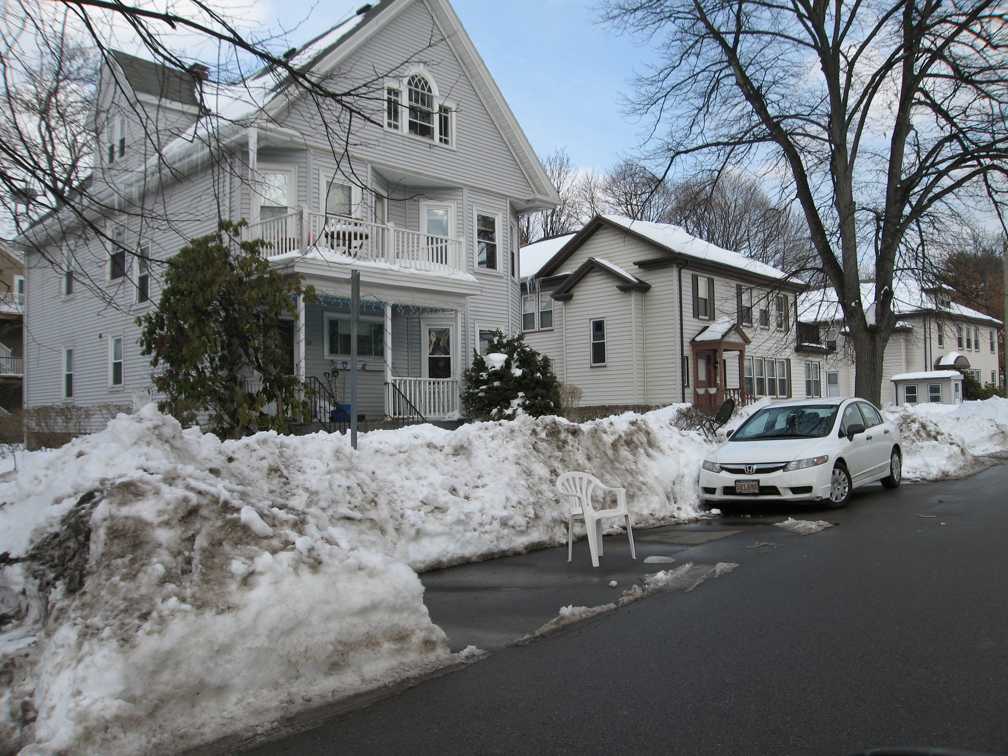 Photo: This is how you protect the parking spot you spent 3 hours shoveling out (Brighton, MA)