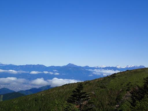 右から妙高山・火打山・高妻山・戸隠山など