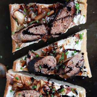 Balsamic Italian Sausage Crostini with Whipped Goat Cheese