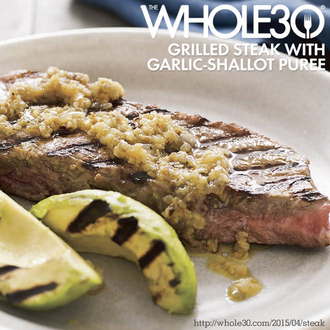 Grilled Steak with Garlic-Shallot Puree and Avocado