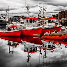 Red Boats in Port by Richard Michael Lingo - Transportation Boats ( red, harbor, norway, boats, transportation,  )