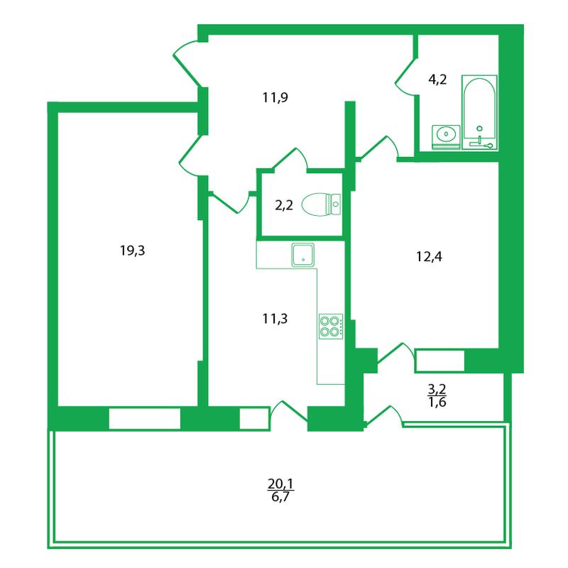 Угловая двушка со сплошным балконом на 3 помещения