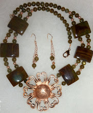 Photo: APOLLON - АПОЛОН - copper pendant, serpentine, labradorite, rose gold vermеil beads/lobster claw clasp/chains/French hooks SOLD/ПРОДАНИЙ