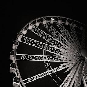 Birghton Wheel by Tracy Hughes - Black & White Buildings & Architecture
