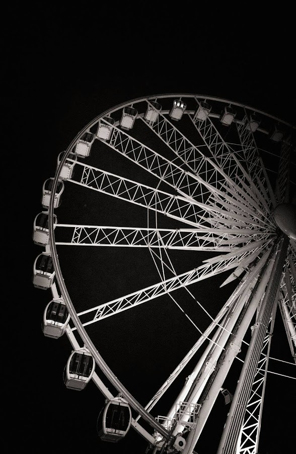 Birghton Wheel by Tracy Hughes - Black & White Buildings & Architecture