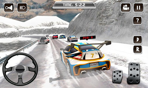 冬の雪のカーラリーレーシング