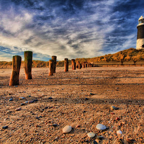Lighthouse at Spurn Point by Steve BB - Nature Up Close Sand ( clouds, sand, spurn point, cold, groynes, blue, sunset, lighthouse, pebbles, beach, golden, shadows, landscape )