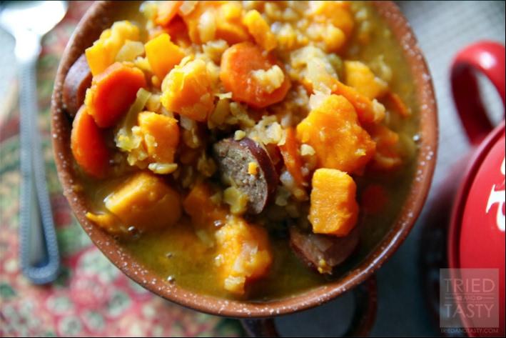 Hearty Split Pea Sausage and Sweet Potato Soup Recipe | Yummly