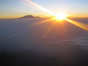 Photo: Mount Kilimanjaro at sunrise from summit Mount Meru