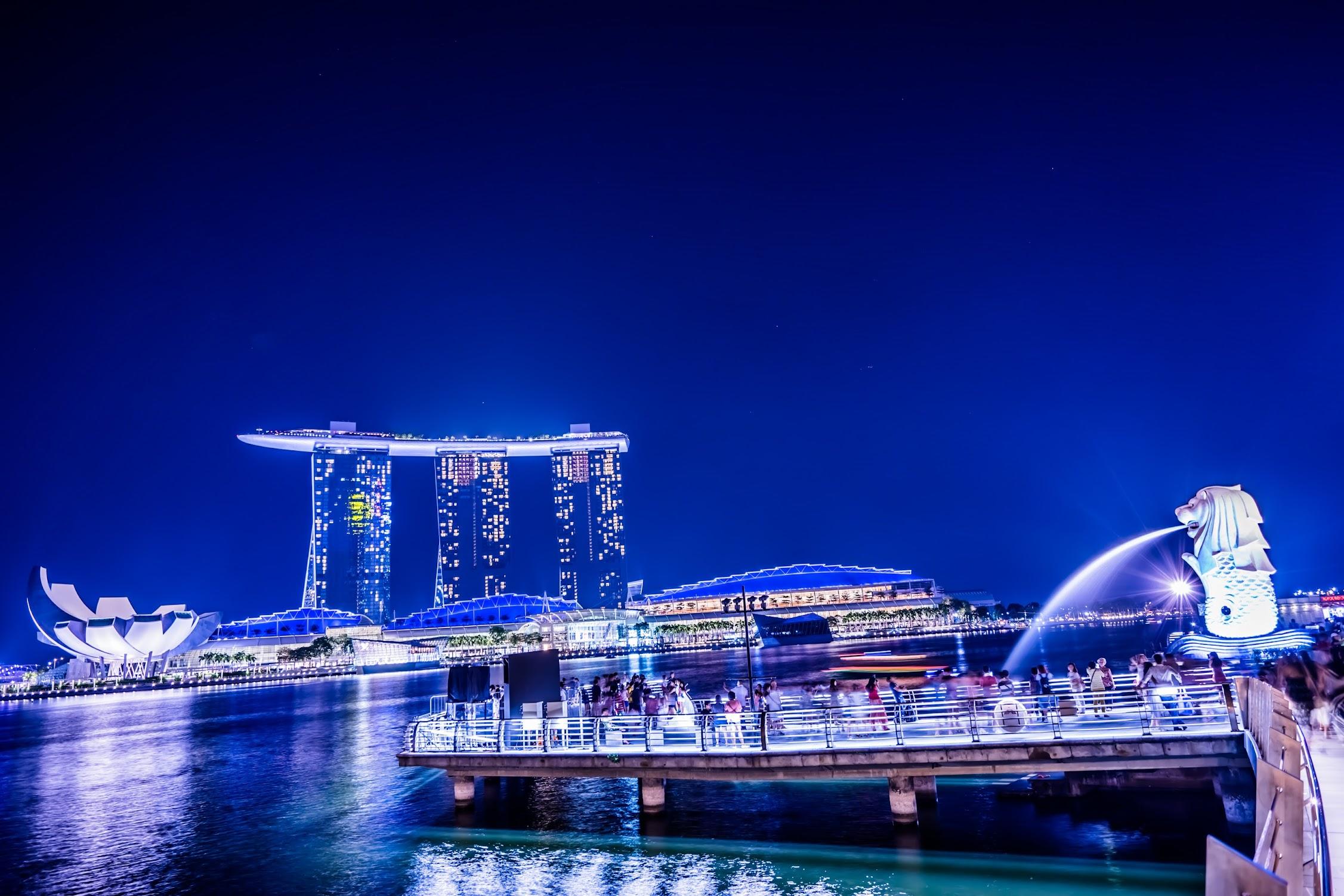シンガポール マーライオン 夜景3