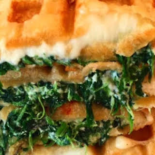 Spinach and Ricotta Waffled Grilled Cheese Sandwiches.
