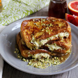 Stuffed Wheat Beer French Toast with Mascarpone, Orange Zest, and Pistachios