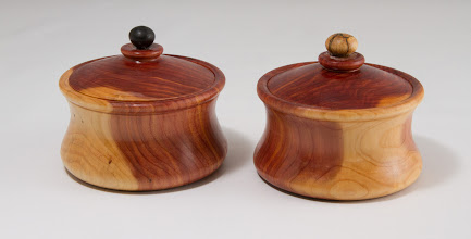 "Photo: Tim Aley 3 1/2"" x 2 1/2"" salt and pepper boxes [cedar]"