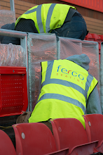 Photo: Installation of demonstration block of rail seats at Ashton Gate, 2014 (since removed to make way for new stand)