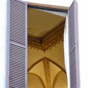 Just a Peek by Kerry Demandante - Buildings & Architecture Architectural Detail ( ceiling, shutters, window, italy, architecture,  )
