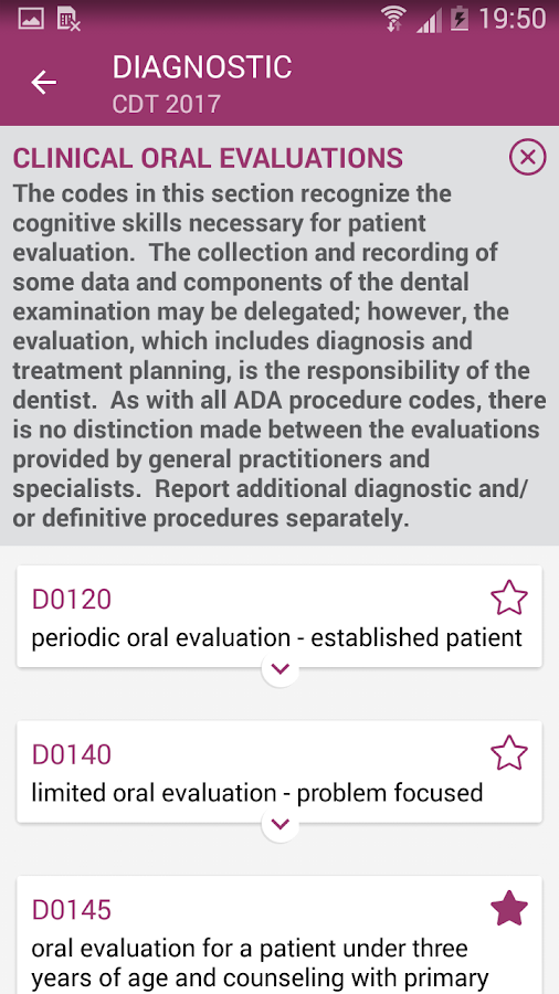 ADA's CDT Code Check- screenshot