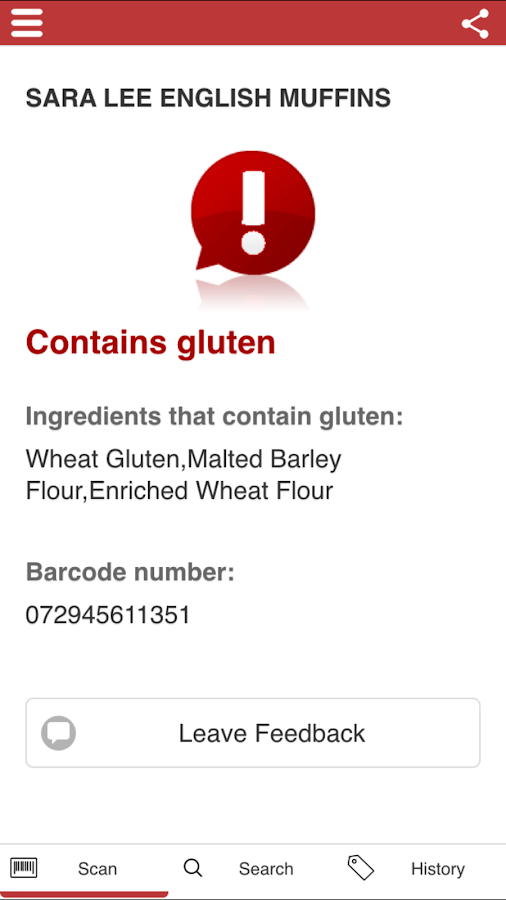 The Gluten Free Scanner- screenshot