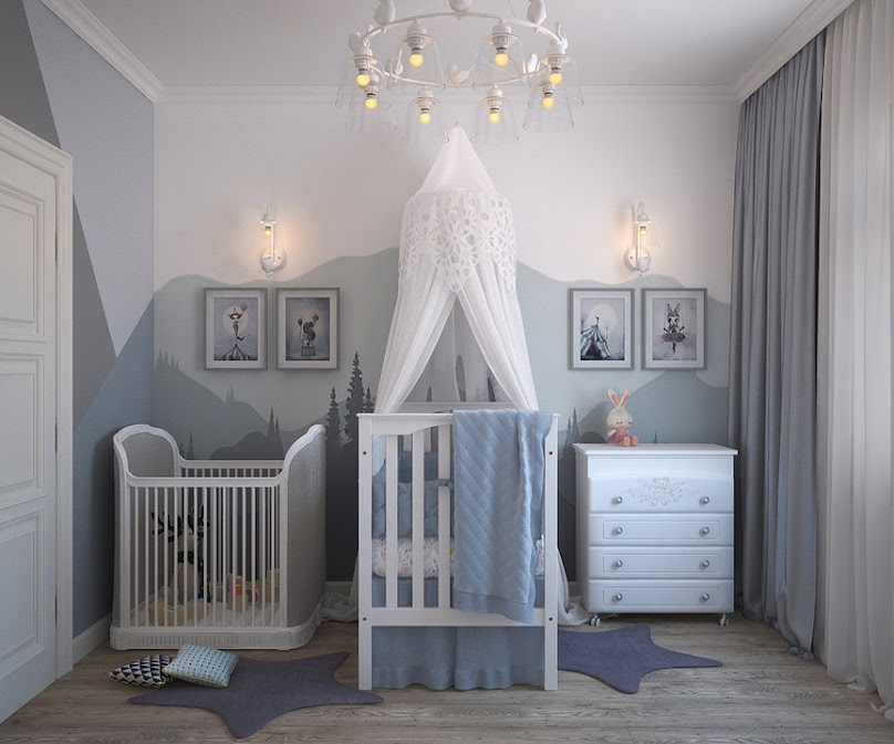 Biel połączona z szarością w małym pokoju dziecięcym