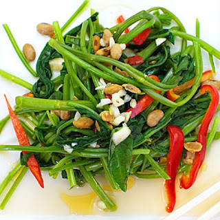 Stir-Fried Spinach with Garlic and Peanuts.