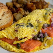 Smoked Salmon, Red Onions & Capers Omelette