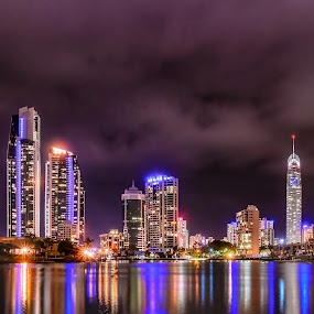 Surfers Paradise by Alex Bogdan - City,  Street & Park  Skylines ( water, lights, skyline, pano, buildings, reflections, night, cityscape, panorama, nightscape )