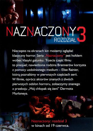 Tył ulotki filmu 'Naznaczony: Rozdział 3'