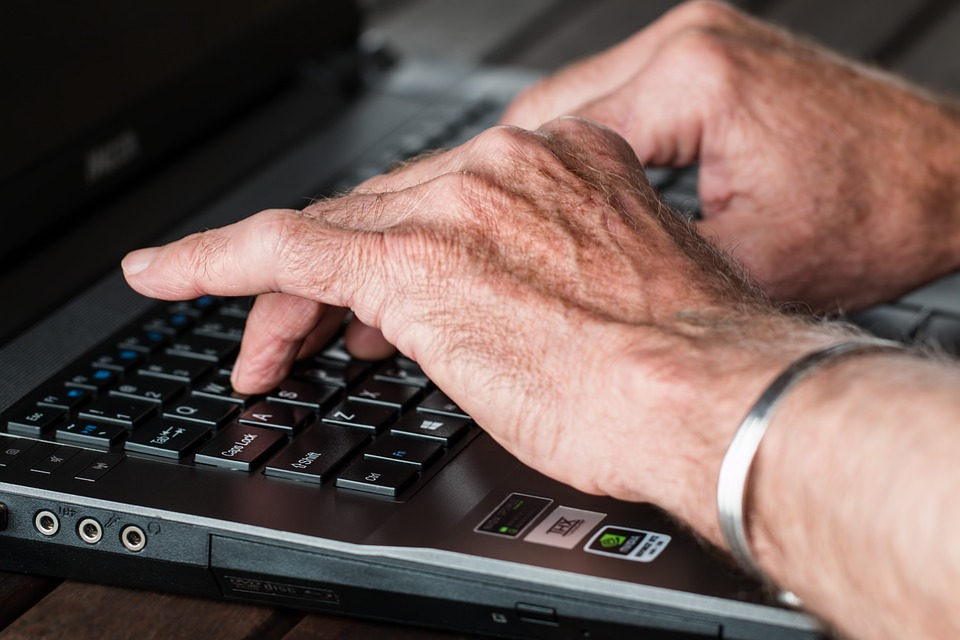 Hands, Old, Typing, Laptop, Internet, Working, Writer