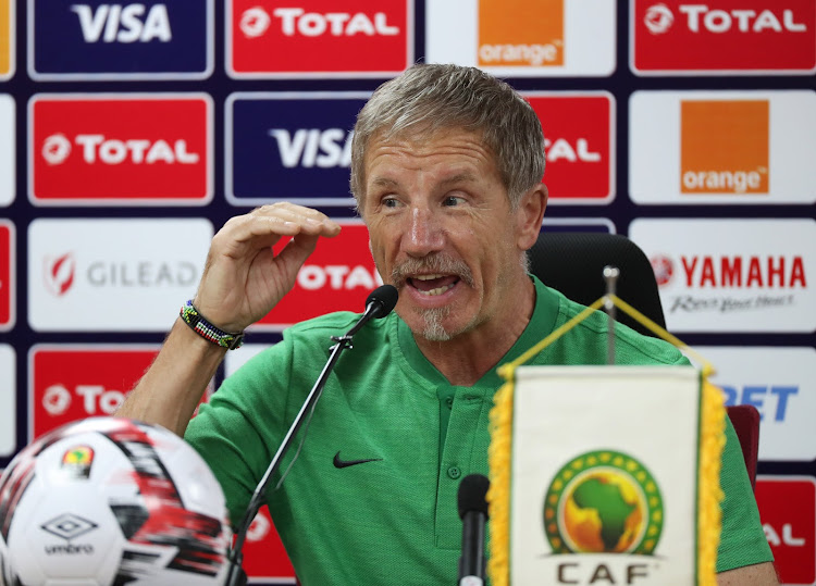 Bafana Bafana head coach Stuart Baxter speaks during a press conference in Cairo, Egypt, on June 30 2019.