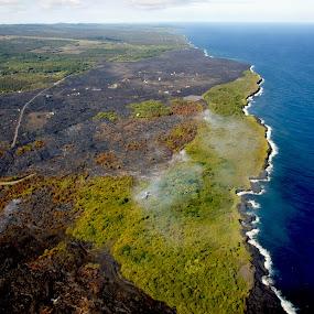 Land Meets Sea / Ocean by Anastasiya Manuilov - Landscapes Travel ( helicopter tour, hawaii, big island )