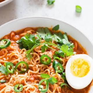 Sriracha Spicy Ramen Noodles Soup.