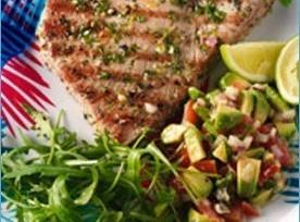 Char Grilled Tuna Steak With Avocado & Mango Salsa Recipe